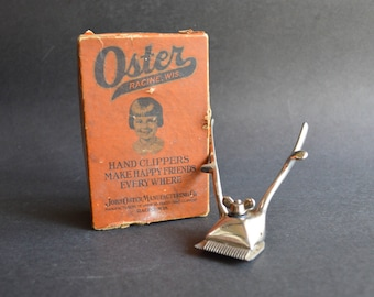 Vintage Oster Hand Clippers in Original Box John Oster Manufacturing Model OOO – Great Home Décor Accent or Photo Prop