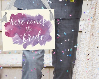 Here Comes The Bride Wedding Sign Watercolor Paint Effect | Flower Girl Ring Bearer Banner Paper Handmade in USA | 1460 BW