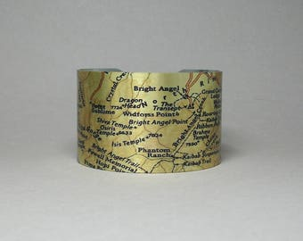 Grand Canyon National Park Map Cuff Bracelet Arizona Unique Gift for Men or Women