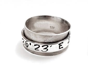 Personalized Coordinates Ring, Wide Band Ring, Personalized Jewelry, Men/Women Spinner Ring, Personalized Gift, Latitude and Longitude Ring