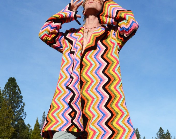 Crochet Sweater Robe Multicolor ZigZags and Black Pure Soft Wool