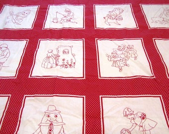 """REDWORK NURSERY RHYMES EMBROiDERED PRiNT QUiLT Squares Cotton Fabric Sold by the Yard 44"""" wide"""