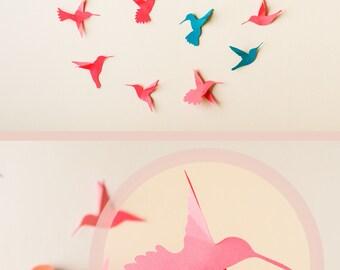 3d Hummingbird Art, 3D Bird Wall Art, Wall Birds Set, Hummingbird Wall Decor, Tropical Bird Nursery Decor