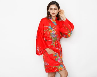 Japanese Vibrant Red Beautiful Print Robe