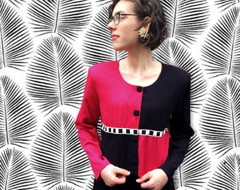 FREE SHIPPING!: Vintage 1980's Pink & Black Geo Button Up Jacket
