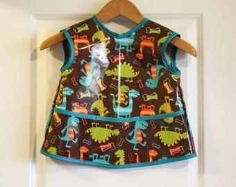 LAST ONE Toddler 2/3 Waterproof Short Sleeved Art Smock Baby Bib with Dino Dudes