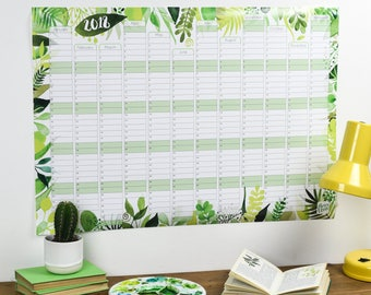 Large 2018 Wall Calendar And Year Planner - Kitchen wall planner 2018 - Botanical year wall planner - Leaves tropical planner