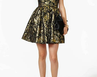 Party Gold & Black Cocktail Dress With Polyester And Tulle Lining - Sizes Small To Medium