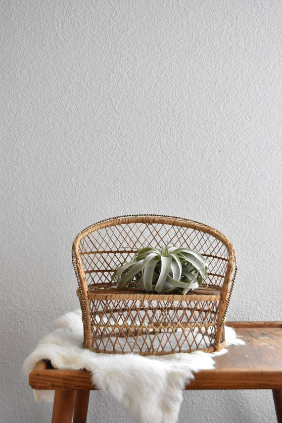 mini vintage wicker peacock bench chair planter / plant stand / doll chair / boho chic / 1 chair