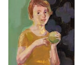 "Girl with Apple portrait oil painting woman figurative canvas panel 8"" x 10"""