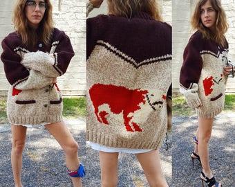 handknit cow print sweater coat lined menswear unisex vintage the dude style sweater coat tomboy style kitsch bovine vegan vegetarian love