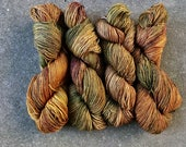 Sparkle Sock Yarn/Hand dyed/Handdyed/Hundred Acre Wood in green/brown/copper/gold