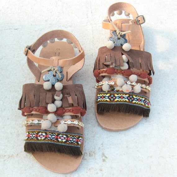 Greek Sandals, Gladiator Sandals, Ethnic Sandals brown, sandales grecques