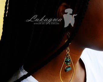 Turquoise African Hoop earrings,Afrocentric Hoop earrings,African jewelry
