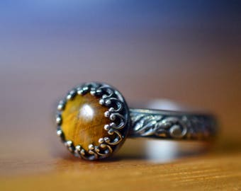 8mm Tigers Eye Ring, Custom Engraved Antiqued Silver Renaissance Style Ornate Leafy Band, Women's Natural Golden Gemstone Jewelry