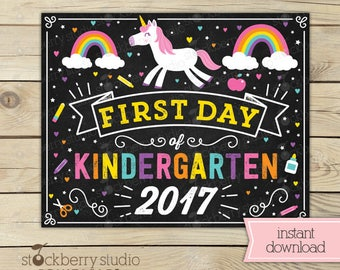 Unicorn First Day of Kindergarten Sign - Girl 1st Day of Kindergarten Sign - First Day of School Sign Printable - Instant Download