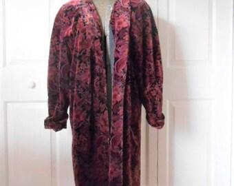 Vintage 80's Velvet flower pattern Coat