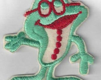 Vintage Frog Wearing Glasses Applique, 1970s