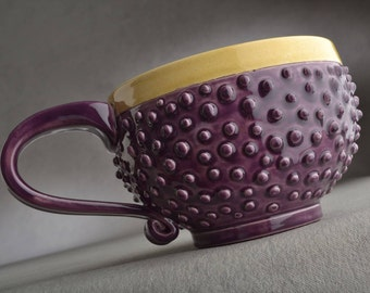 Dottie Mug Ready To Ship Royal Purple & Mocha Dottie Soup/Cocoa Mug