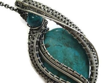 """Turquoise & Tarnish-Resistant Antiqued Sterling Silver Pendant with Chrysocolla, Wire-Wrapped """"Woven Teardrop"""" Necklace"""