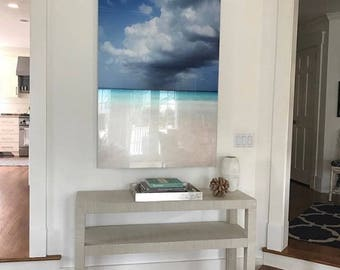 Grasscloth Wrapped Console Table W/Shelf - Custom Built To Suit Your Space
