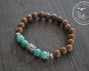 Bracelet mala - Buddha - Bois - Amazonite - Pierres naturelles - Yoga - Zen - Coco Matcha