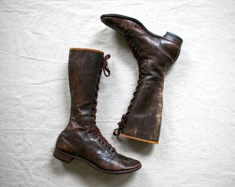 1920's Chippewa Tall Lace Up Brown Leather Boots / 20's Boots / Women's / Work Boots / Depression Era Vintage Roaring 1920's