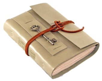 Light Sage Green Journal - Tea Stained Paper - Skeleton Key - Ready to Ship - Travel Journal - Green Journal - Art Notebook - Sketchbook -