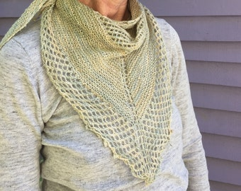 Handknit summer shawl/scarf, cotton/linen/silk/nettle