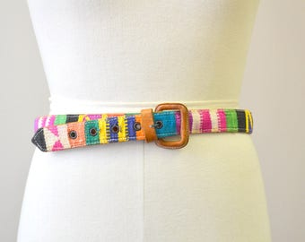 1980s Guatemalan Handwoven Cotton and Leather Belt