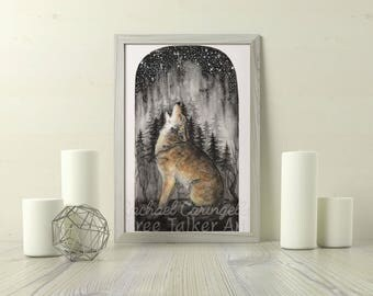 Coyote Howl Painting - Watercolor Coyote Art by  Rachael Caringella - Tree Talker Art