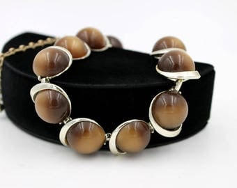 Chocolate Moonglow Lucite Necklace, signed LISNER