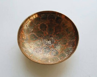 Vintage Mid Century Brass Cloisonné Bowl from India - Bohemian Modern Eclectic Decor
