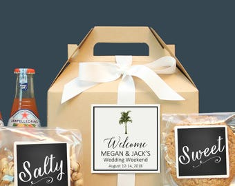 Palm Tree Wedding Welcome Box | Tropical Out of Town Guest Box | Wedding Welcome Bag | Out of Town Guest Bag | Wedding Favor - Vintage Palm