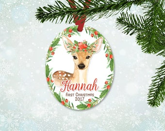 Personalized First Christmas Ornament, Baby Girl Keepsake Ornament, Baby's 1st Christmas, Deer with Christmas Florals, Christmas Gift (051)