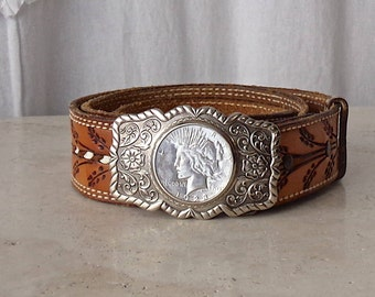 Vintage Morgan Silver Dollar Belt Buckle Nickle Silver Belt Buckle Bell Trading Co. Western Cowboy Accessory 1970s