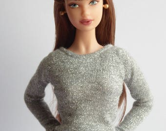 Silver tight sweater for Poppy Parker / Model Muse, Made to Moce, New Silkstone or Pivotal Barbie