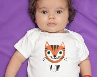 Baby boy clothes, tabby cat baby bodysuit, orange cat baby bodysuit, baby gift