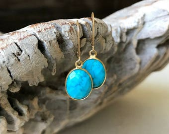 Gold Oval Turquoise Earrings