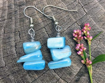 Turquoise Mother of Pearl Shells . Earrings