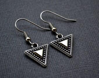 Silver Triangles . Earrings