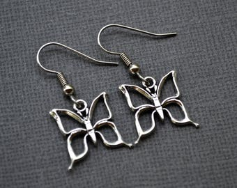 Silver Open Butterflies . Earrings