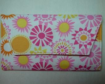 Summer Sun Fabric Wallet (pink, orange, yellow)