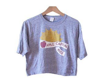 Vintage 80's Gray Crop Top Apple Capital 1983 Wenatchee Size Large
