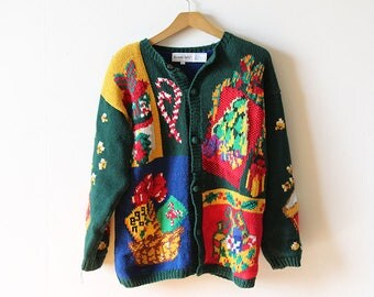 Vintage Ugly Christmas Sweater Cardigan Women's Size Large