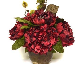 Red Peony Hydrangea Floral Arrangement Centerpiece