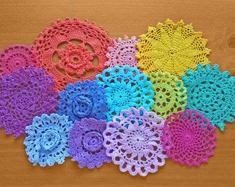 13 Rainbow Hand Dyed Vintage Crochet Doilies, 2 to 5 inch Small Craft Doilies, Colorful Doilies, Crochet Medallions, Mandalas