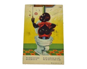 Authentic 1940s Black Americana Postcard - Dis Shower Am Busted - Used Postcard Politically Incorrect Classic Black Americana Postcard