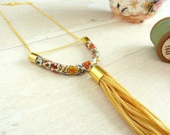 Yellow Bar Necklace - Tassel Necklace - Floral necklace - Statement Tassel Necklace - Festival Necklace - Tassel Jewelry - Liberty Print