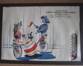 Vintage Advertising Thermometer Picture Poodles